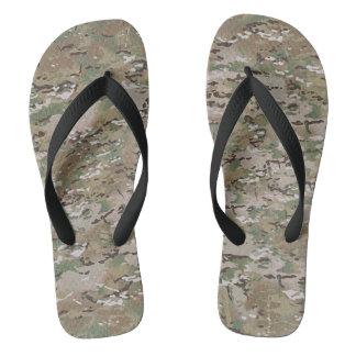 Camouflage Camo Multi Terrain Green Brown Flip Flops