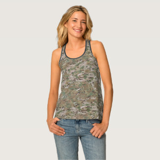 Camouflage Camo Multi Terrain Green Brown Tank Top