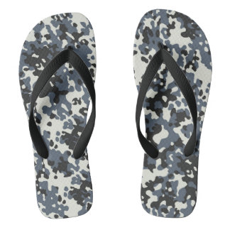 Camouflage Camo Police Grey Black White Flip Flops
