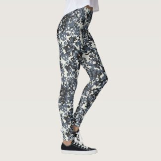 Camouflage Camo Police Grey Black White Leggings