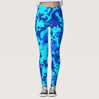 Camouflage Camo Print Blue Leggings