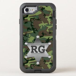 Camouflage Camo Sheriff Badge Green | Monogram OtterBox Defender iPhone 8/7 Case