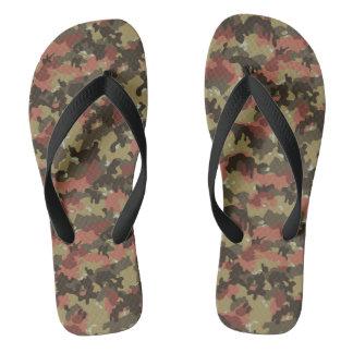 Camouflage Camo Woodland Khaki Green Rust Brown Flip Flops