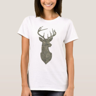 Camouflage Color Buck Silhouette Deer Trophy T-Shirt