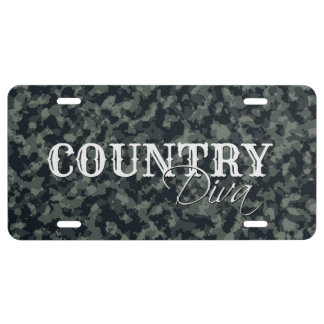 Camouflage Country Diva License Plate