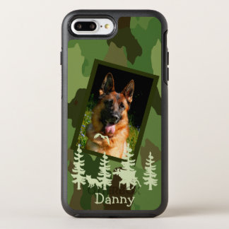 Camouflage custom dog photo name forest wildlife OtterBox symmetry iPhone 8 plus/7 plus case