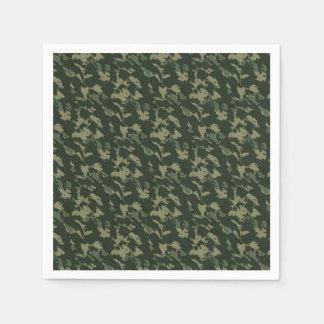 Camouflage Dark Green Gray Beige Camo Design Paper Napkin