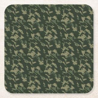 Camouflage Dark Green Gray Beige Camo Design Square Paper Coaster