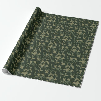 Camouflage Dark Green Gray Beige Camo Design Wrapping Paper