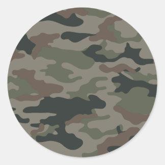 Camouflage d'armée en vert et militaires de Brown Adhésifs Ronds