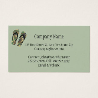 Camouflage Flip Flop Fun Summer Vacation Art Business Card