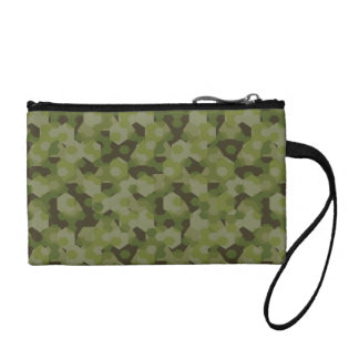 Camouflage geometric hexagon coin wallet