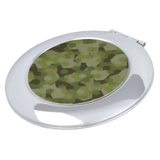 Camouflage geometric hexagon makeup mirrors