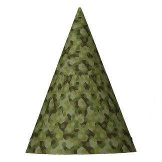Camouflage geometric hexagon party hat