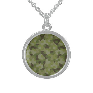 Camouflage geometric hexagon sterling silver necklace