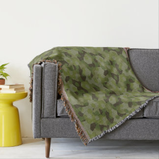 Camouflage geometric hexagon throw blanket