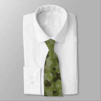 Camouflage geometric hexagon tie