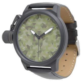 Camouflage geometric hexagon watch