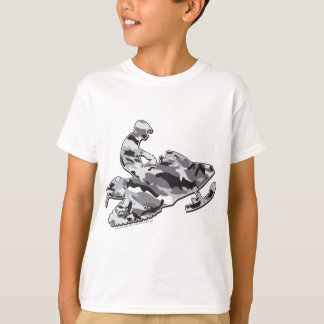 Camouflage Gray Snowmobiler T-Shirt