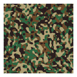 Camouflage Green Brown Tan & Black Texture Pattern Poster