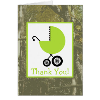 Camouflage & Green Carriage Baby Shower Thank You Card