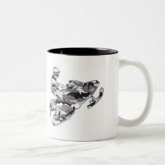 Camouflage Grey Snowmobiler Two-Tone Coffee Mug