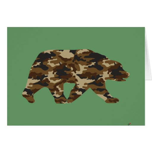 Camouflage Grizzly Bear Silhouette Greeting Cards