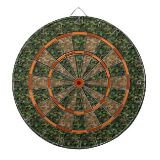 Camouflage Hunter Green Orange Dartboard