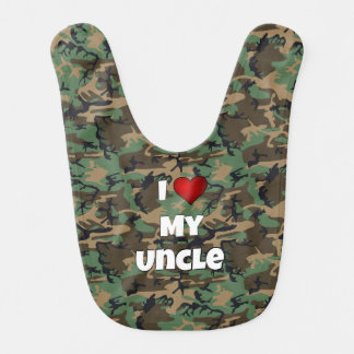 "Camouflage ""I love my Uncle"" Baby Bib"