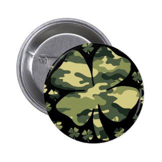 camouflage irish four leaf clover 2 inch round button