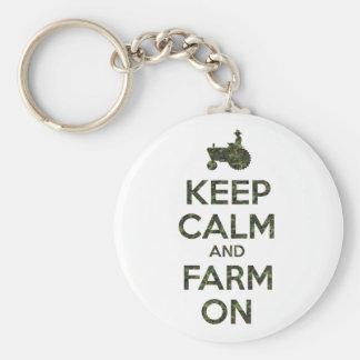 Camouflage Keep Calm and Farm On Keychains