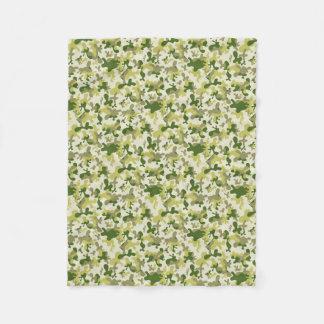 Camouflage Light Green Grey Beige Camo Design Fleece Blanket