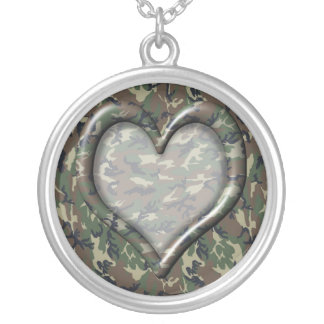 Camouflage Military Pattern Heart Silver Plated Necklace