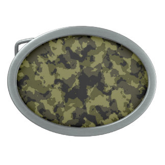 Camouflage military style oval belt buckle