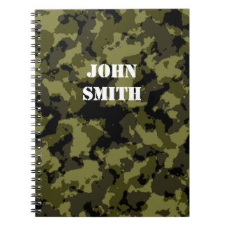 Camouflage military style pattern spiral note book