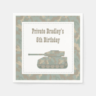 Camouflage Military Tank Army Birthday Party Paper Napkin