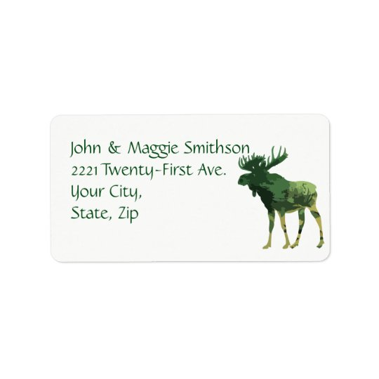 Camouflage Moose Animal Wildlife Nature art Label