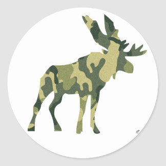 Camouflage Moose Silhouette Round Sticker