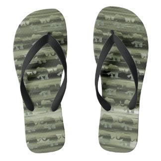Camouflage Olive-Green Striped Elephants Pattern Flip Flops