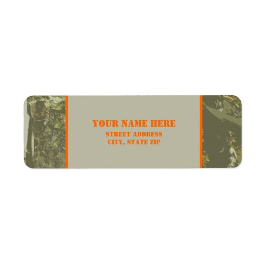 Camouflage & Orange Address Label Sticker