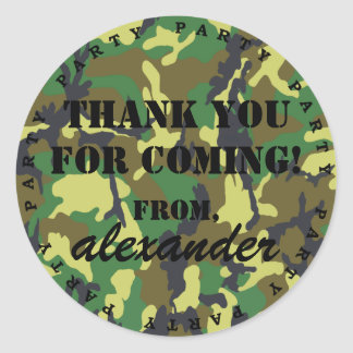 Camouflage Party Thank You Classic Round Sticker