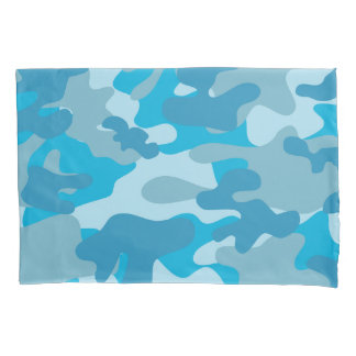 Camouflage Pattern in Blue Pillowcase