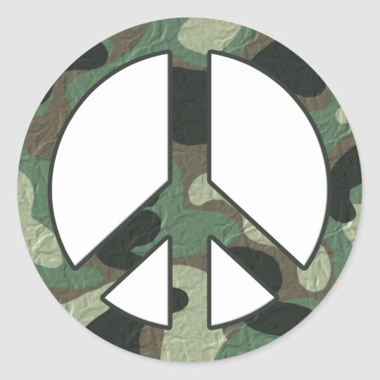 Camouflage Peace Sign Stickers