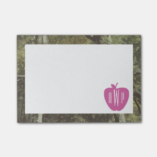 Camouflage + Pink Apple Monogrammed Teacher Post-it Notes