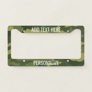 Camouflage Print with Custom Add 2 Lines Text License Plate Frame