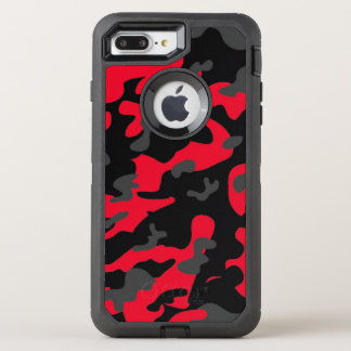 Camouflage Red Black Como Army Military Print OtterBox Defender iPhone 8 Plus/7 Plus Case