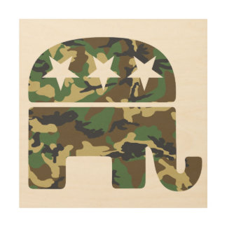 Camouflage Republican Elephant Wood Wall Decor