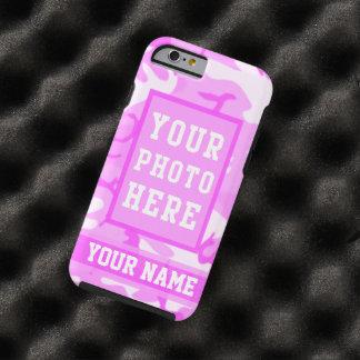 Camouflage rose mignon personnalisé de nom et de coque iPhone 6 tough