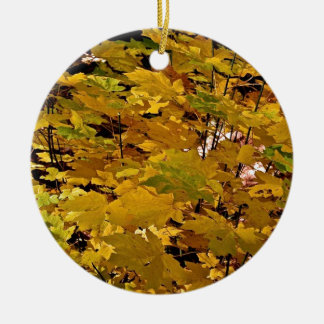 CAMOUFLAGE WITH LEAVES IN LATE FALL CERAMIC ORNAMENT