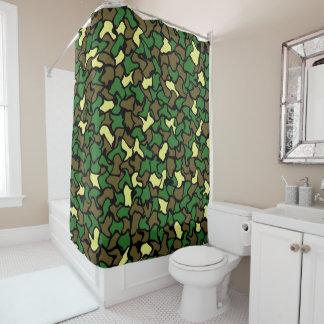 Camouflage Wobble Tile Pattern Shower Curtain